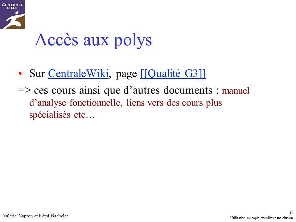 Accès aux polys Sur CentraleWiki, page [[Qualité G3]]